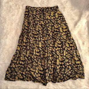 Vintage Button Down Floral Midi Skirt